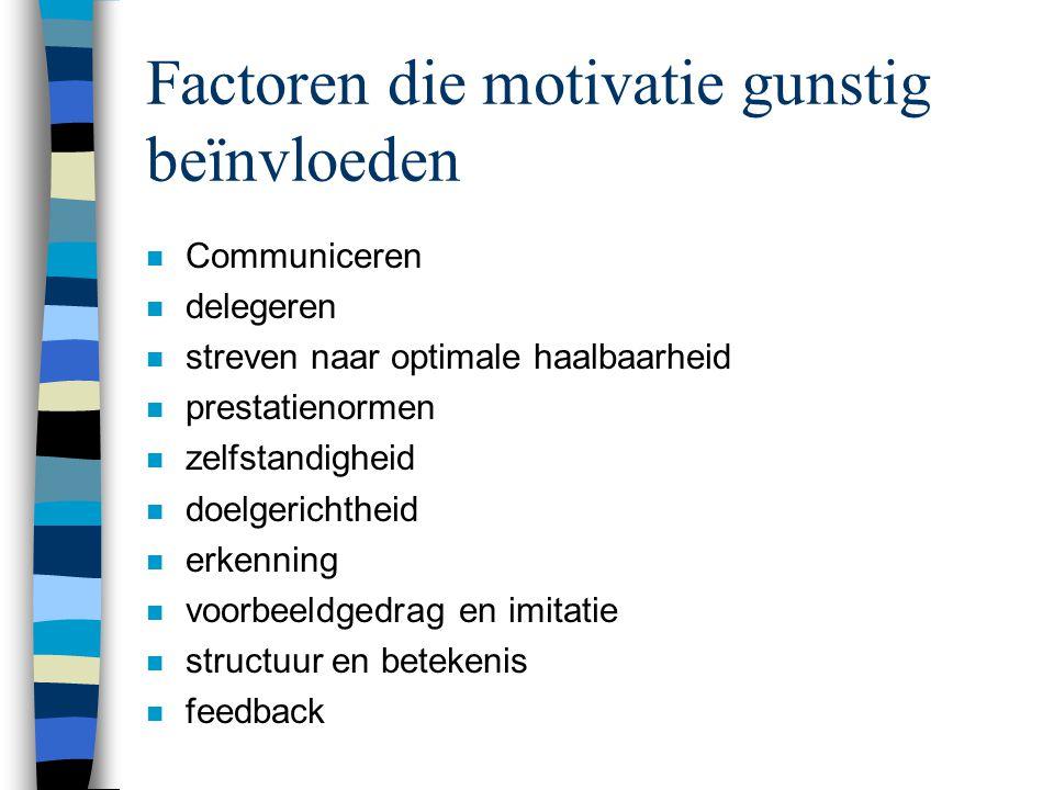 Factoren die motivatie gunstig beïnvloeden