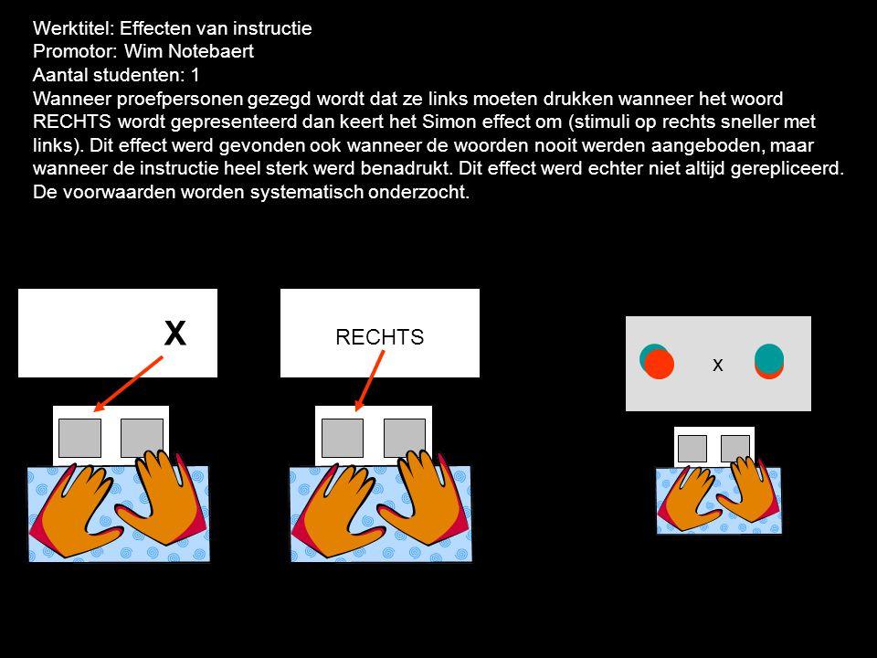 X RECHTS x Werktitel: Effecten van instructie Promotor: Wim Notebaert