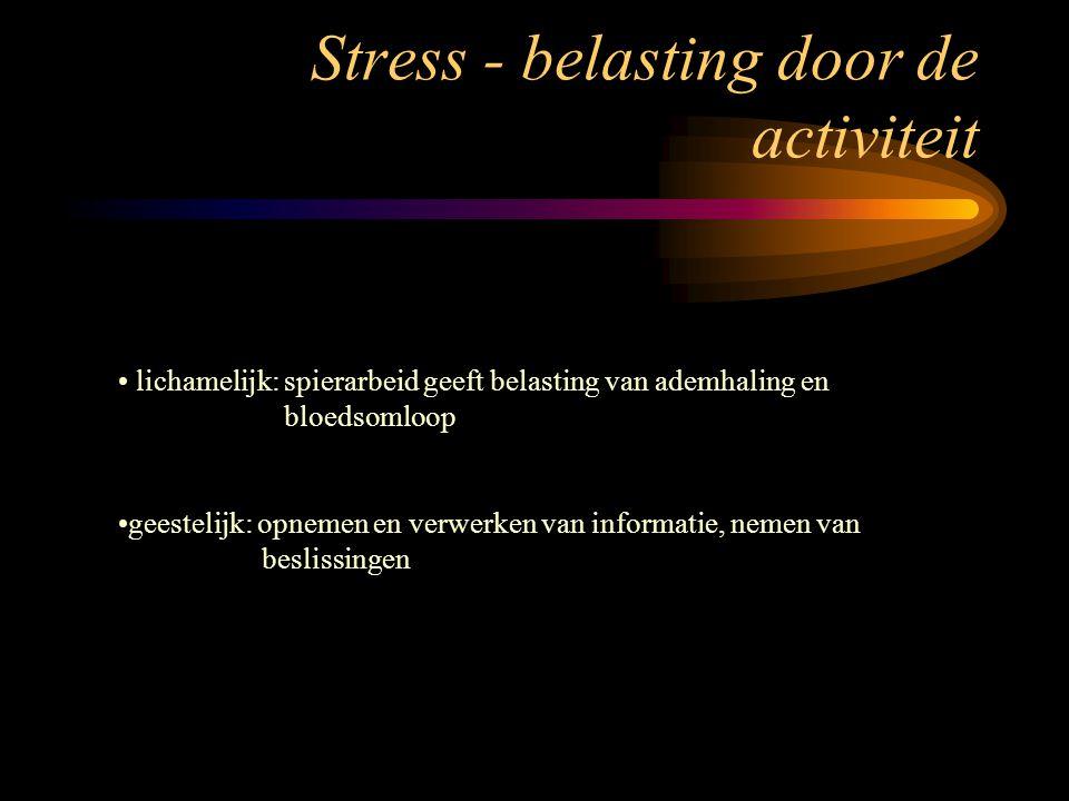 Stress - belasting door de activiteit