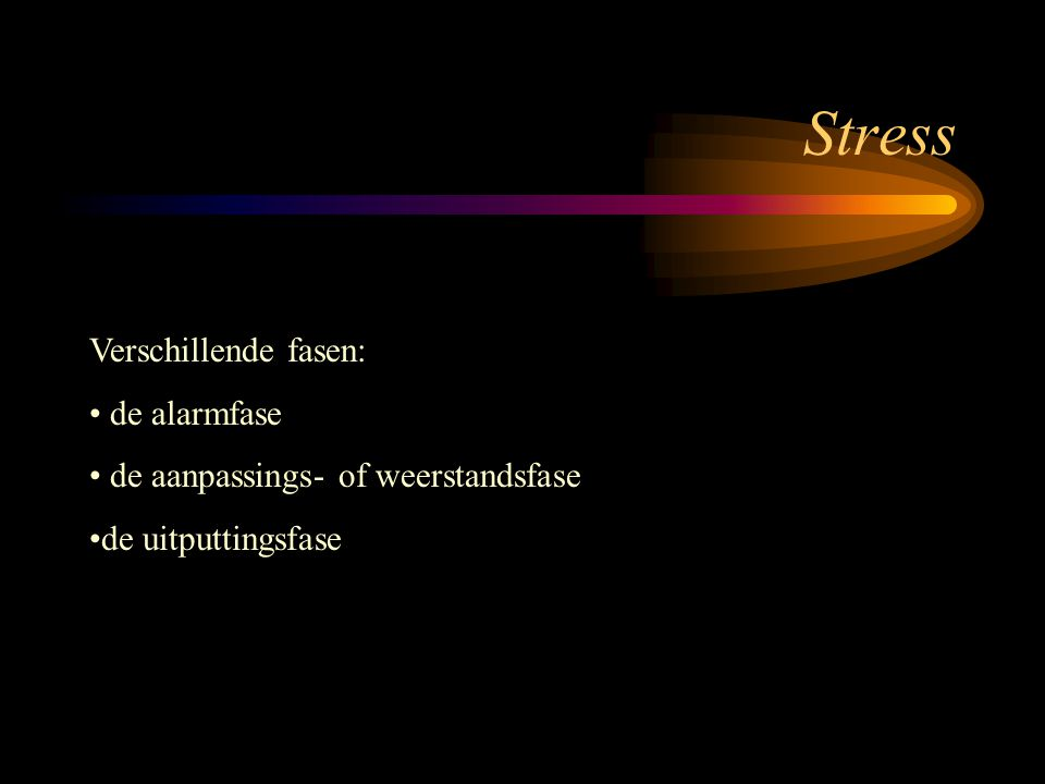 Stress Verschillende fasen: de alarmfase