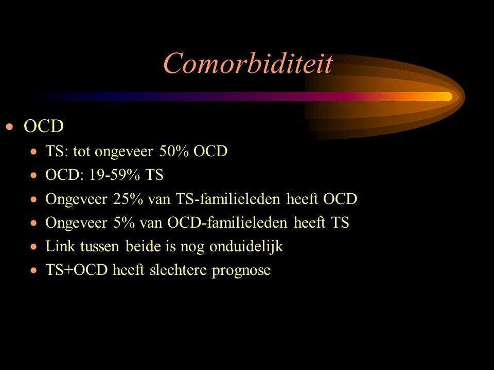 Comorbiditeit OCD TS: tot ongeveer 50% OCD OCD: 19-59% TS