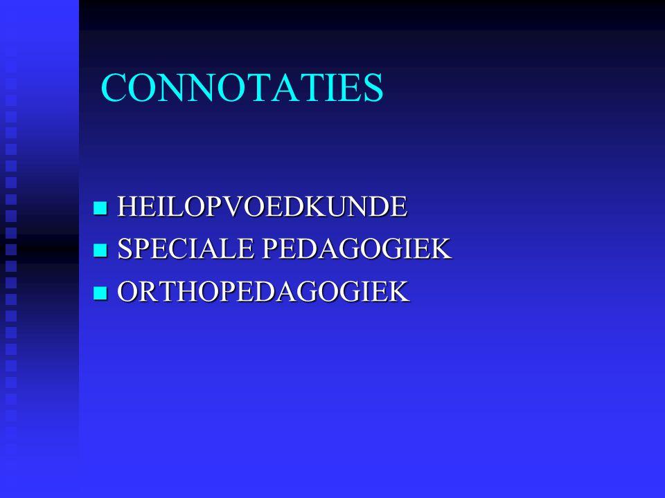 CONNOTATIES HEILOPVOEDKUNDE SPECIALE PEDAGOGIEK ORTHOPEDAGOGIEK