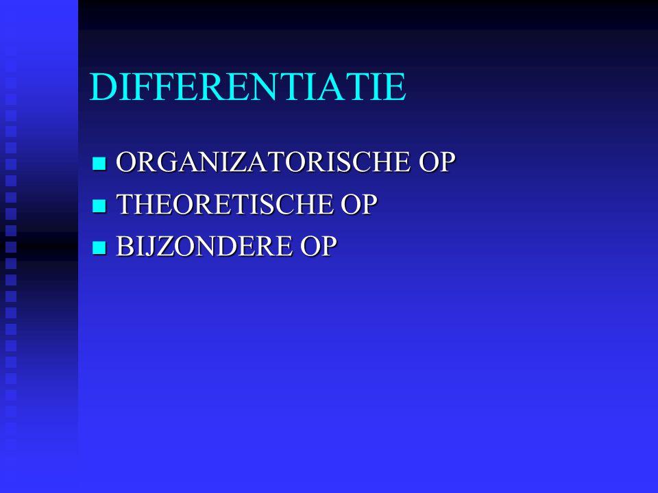 DIFFERENTIATIE ORGANIZATORISCHE OP THEORETISCHE OP BIJZONDERE OP