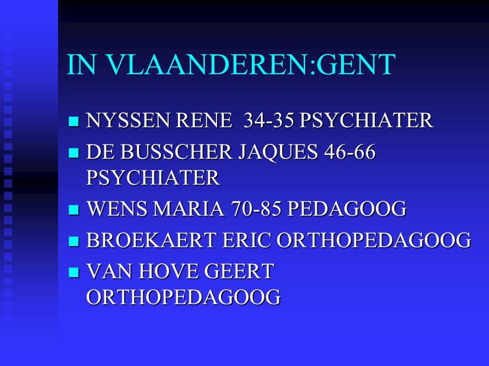 IN VLAANDEREN:GENT NYSSEN RENE 34-35 PSYCHIATER