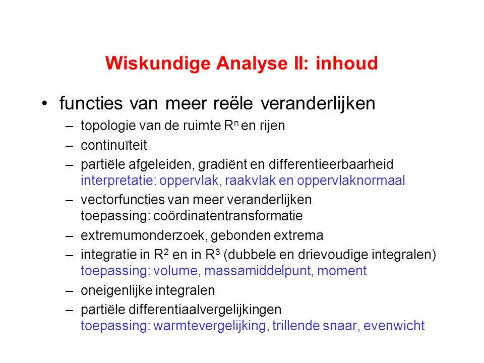Wiskundige Analyse II: inhoud