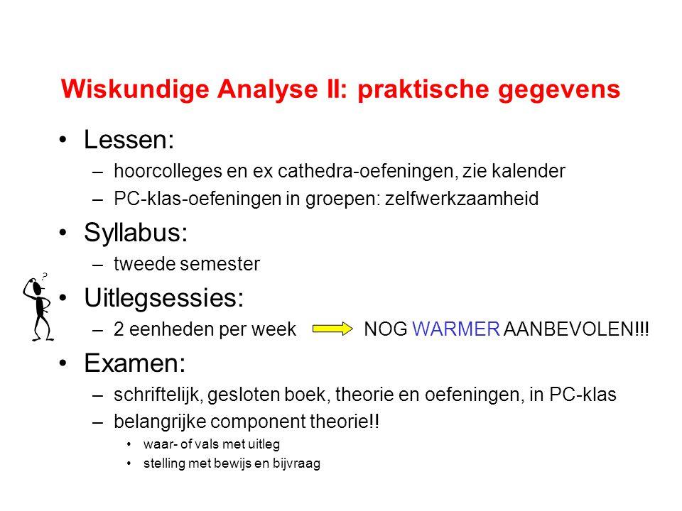 Wiskundige Analyse II: praktische gegevens