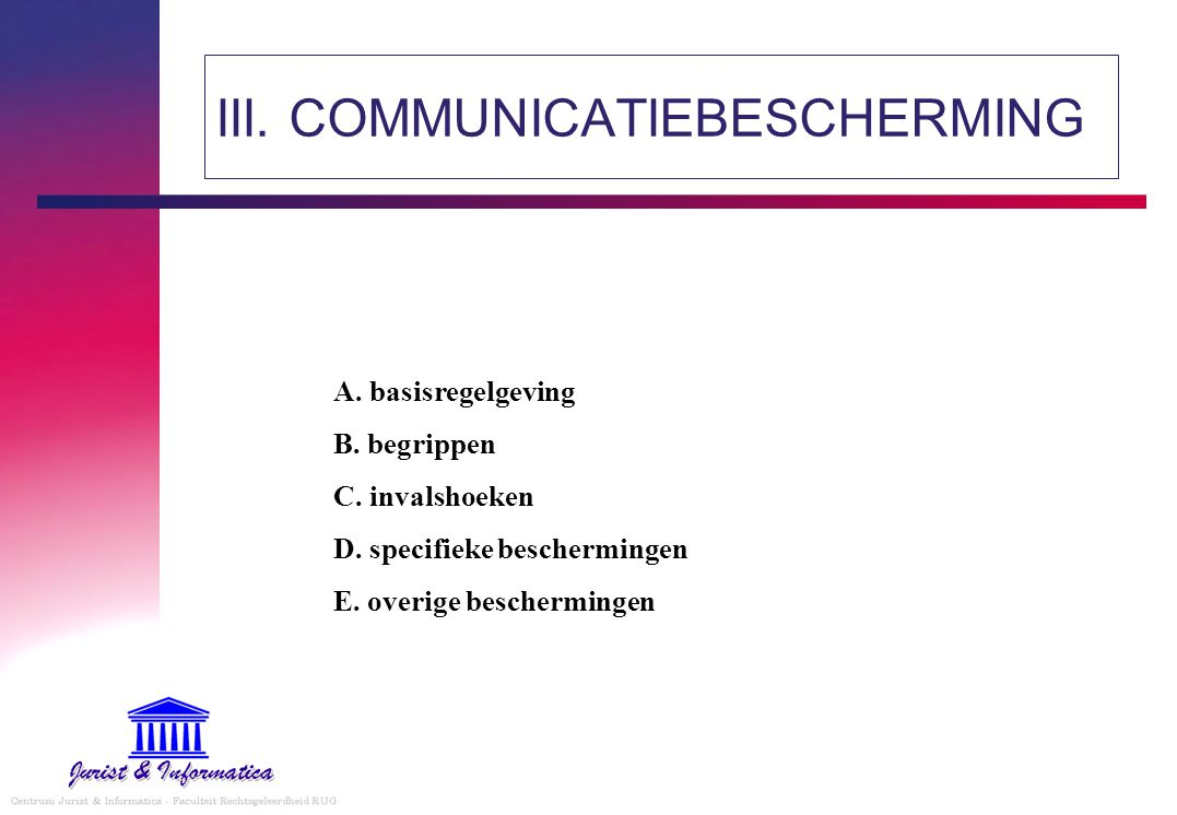 III. COMMUNICATIEBESCHERMING