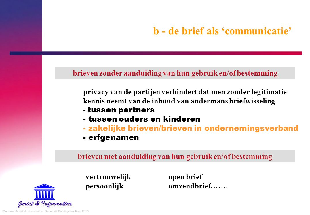 b - de brief als 'communicatie'