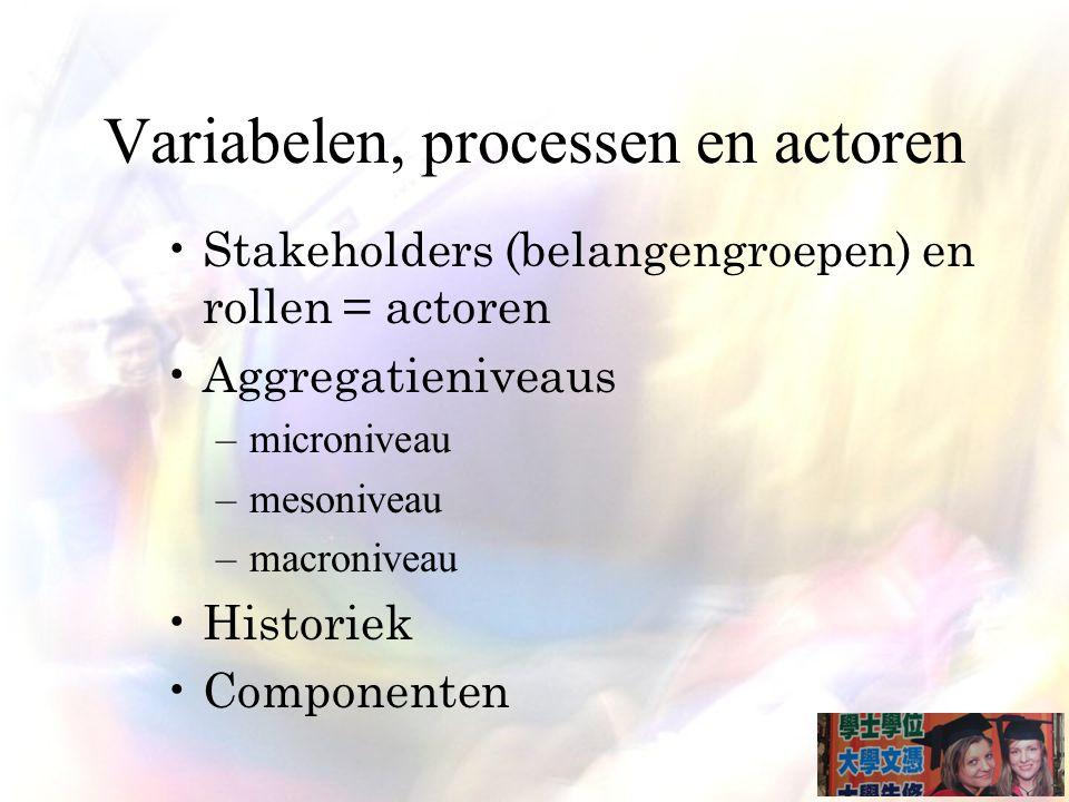 Variabelen, processen en actoren