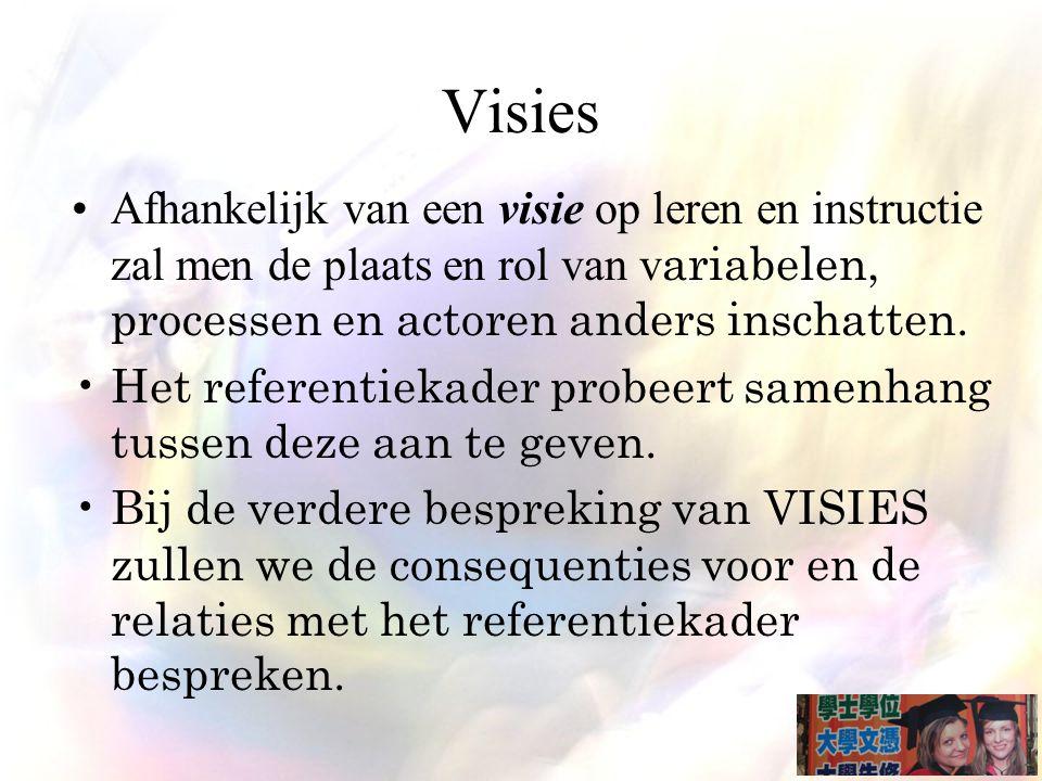 Visies Afhankelijk van een visie op leren en instructie zal men de plaats en rol van variabelen, processen en actoren anders inschatten.