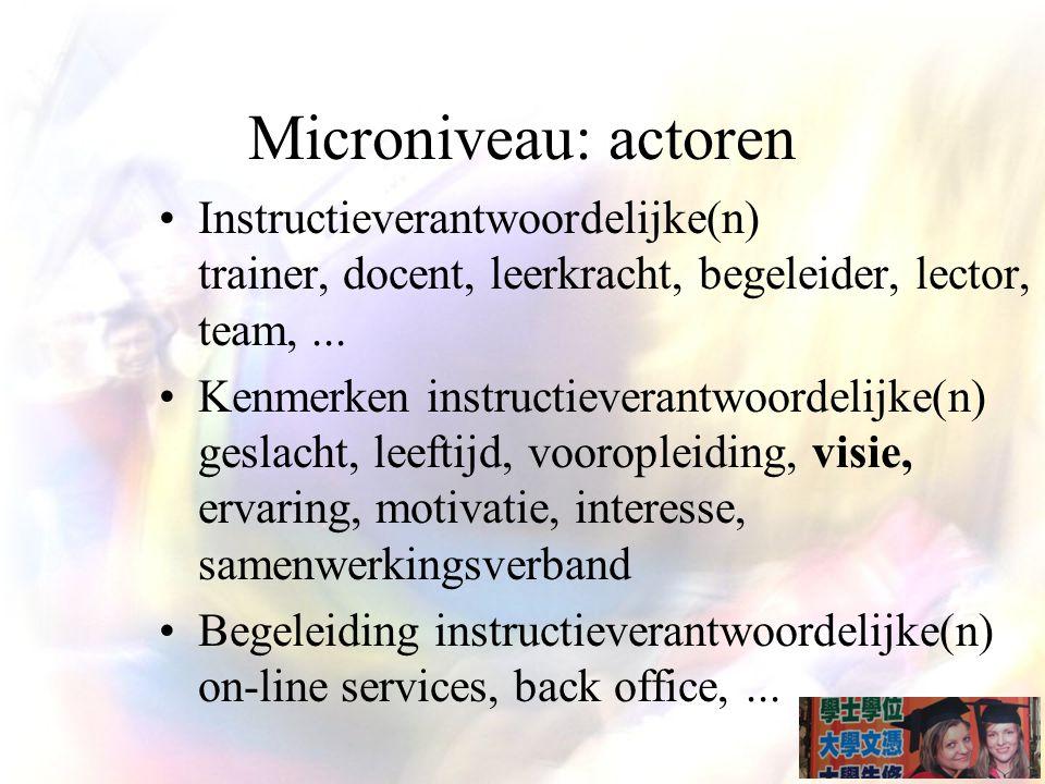 Microniveau: actoren Instructieverantwoordelijke(n) trainer, docent, leerkracht, begeleider, lector, team, ...
