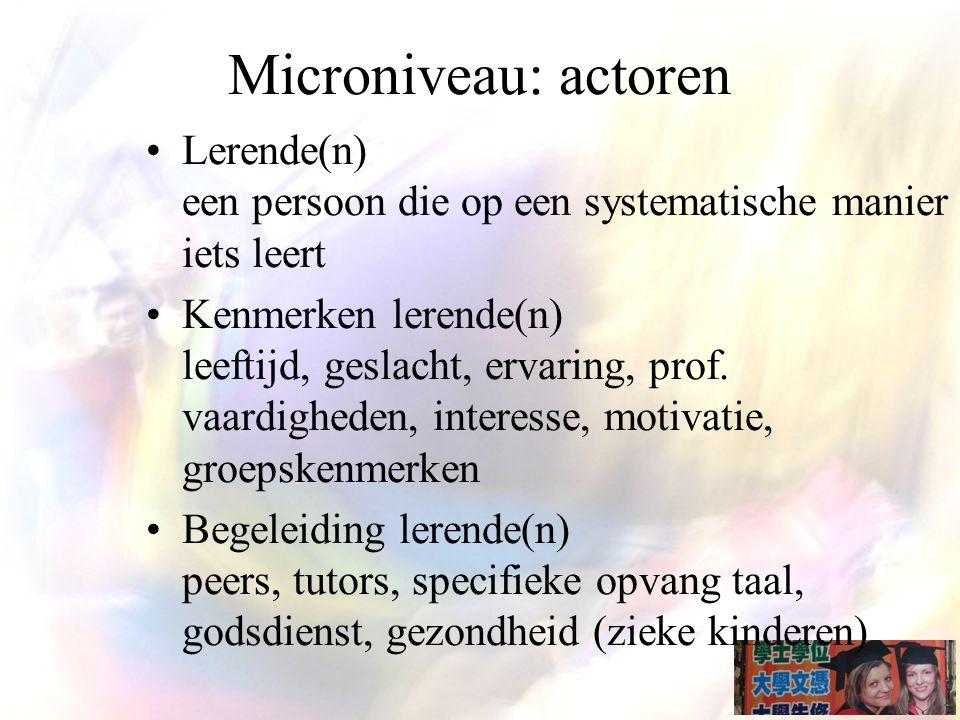 Microniveau: actoren Lerende(n) een persoon die op een systematische manier iets leert.