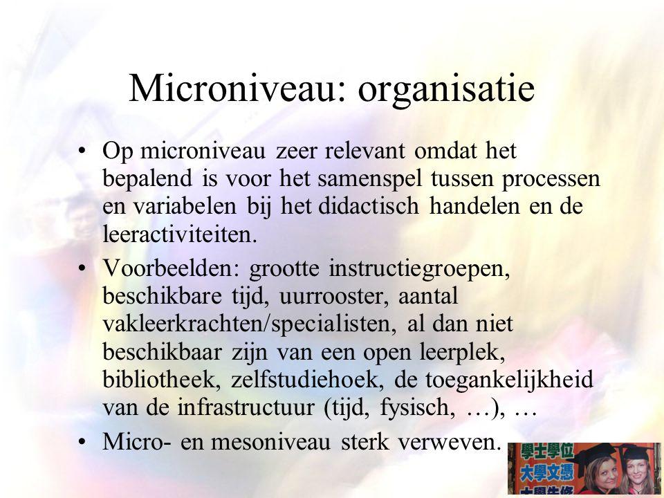 Microniveau: organisatie