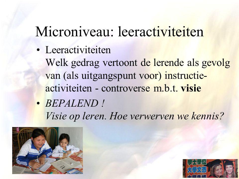 Microniveau: leeractiviteiten