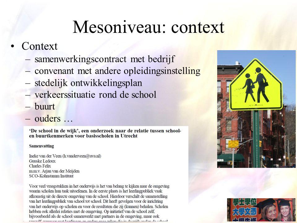 Mesoniveau: context Context samenwerkingscontract met bedrijf