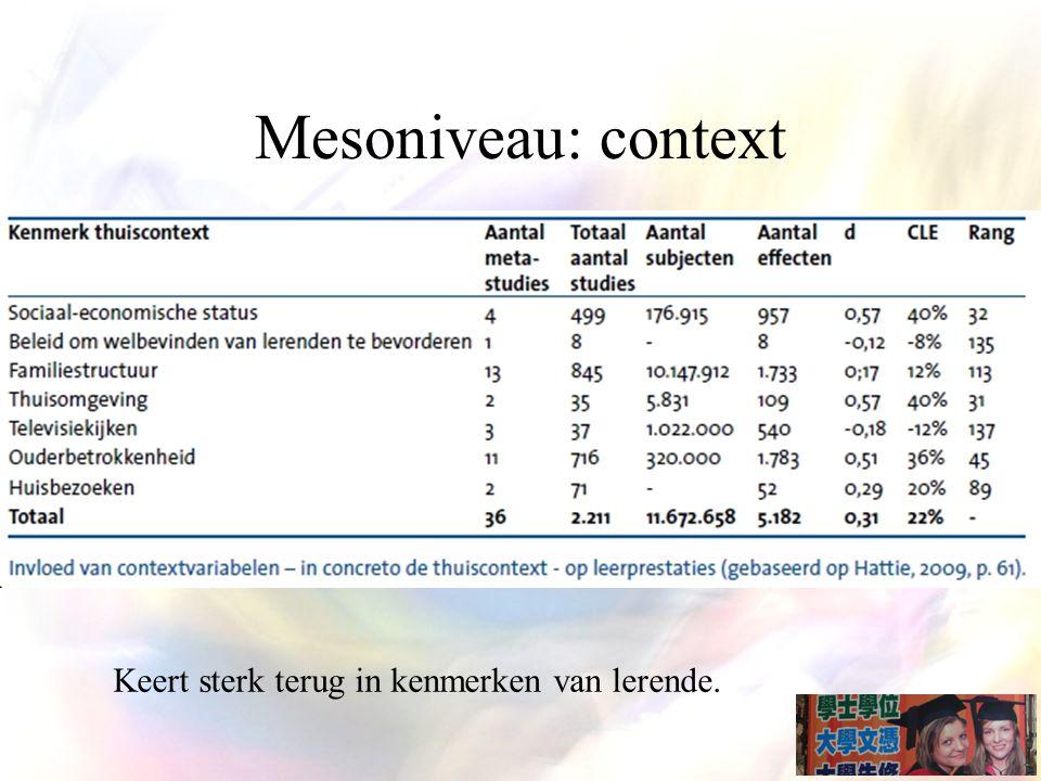 Mesoniveau: context Keert sterk terug in kenmerken van lerende.