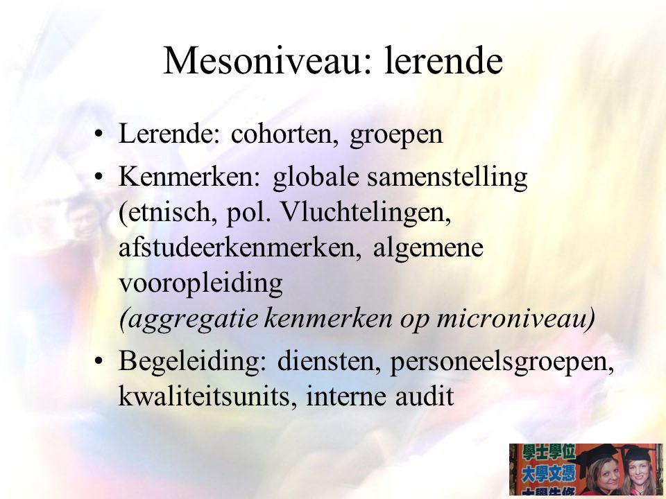 Mesoniveau: lerende Lerende: cohorten, groepen