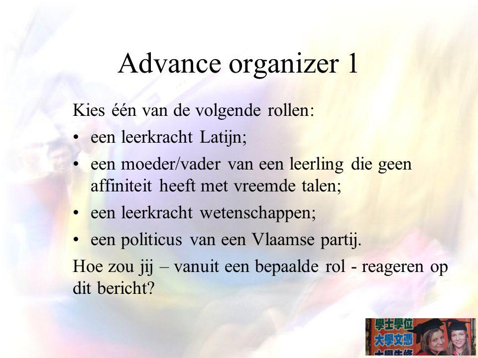 Advance organizer 1 Kies één van de volgende rollen:
