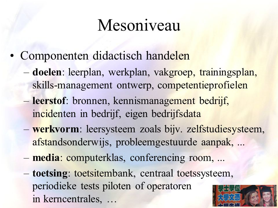 Mesoniveau Componenten didactisch handelen