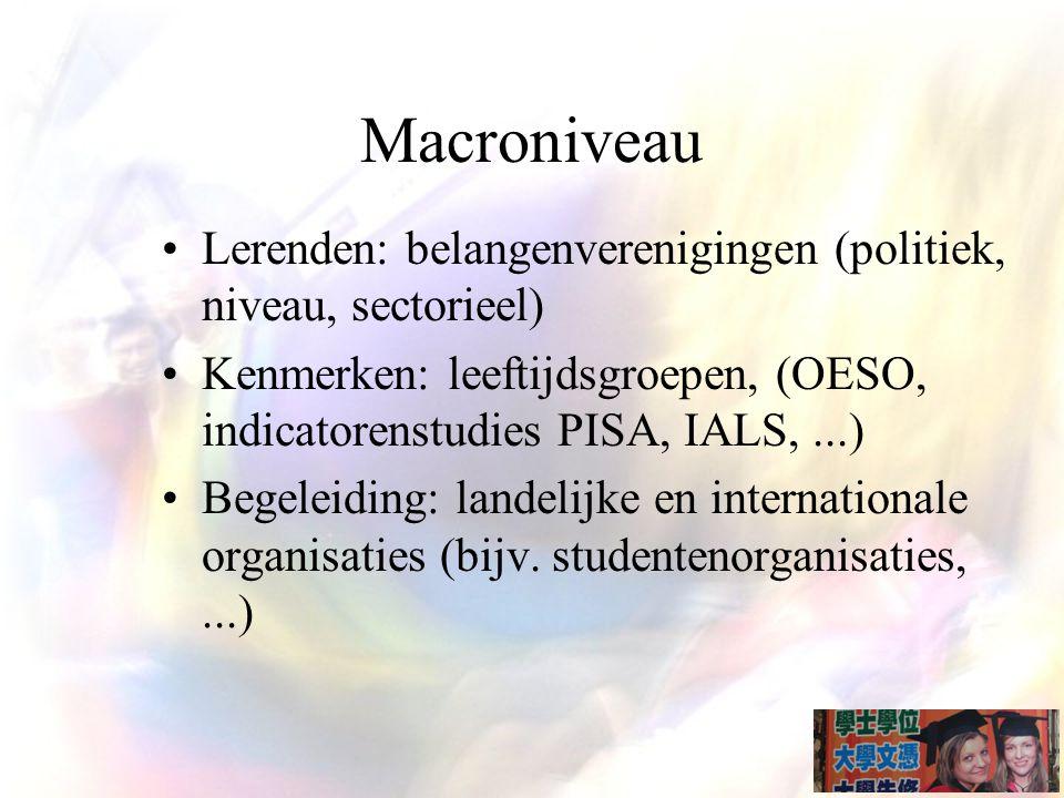 Macroniveau Lerenden: belangenverenigingen (politiek, niveau, sectorieel) Kenmerken: leeftijdsgroepen, (OESO, indicatorenstudies PISA, IALS, ...)