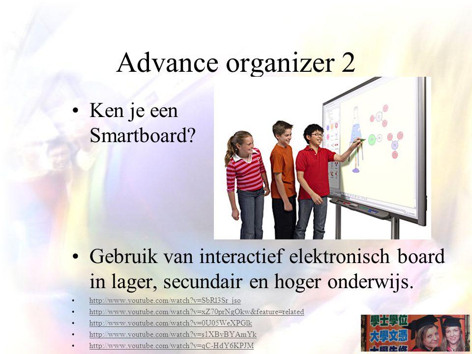 Advance organizer 2 Ken je een Smartboard