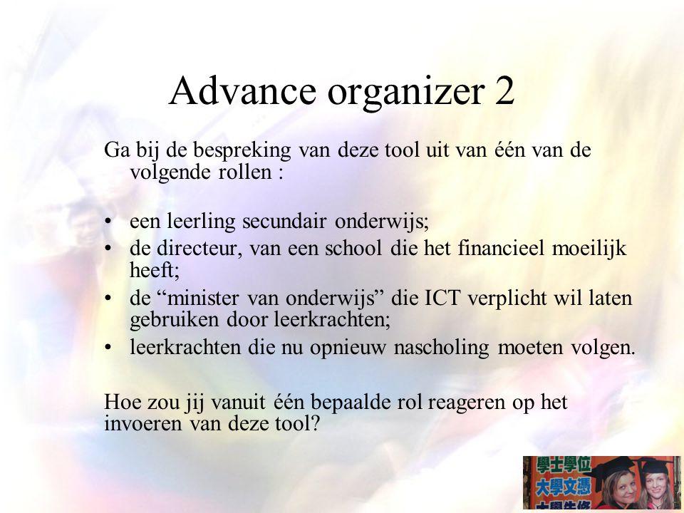 Advance organizer 2 Ga bij de bespreking van deze tool uit van één van de volgende rollen : een leerling secundair onderwijs;