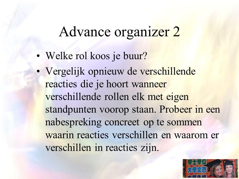 Advance organizer 2 Welke rol koos je buur
