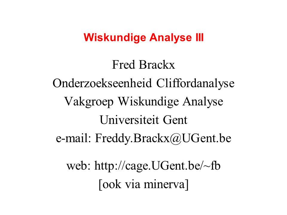 Wiskundige Analyse III