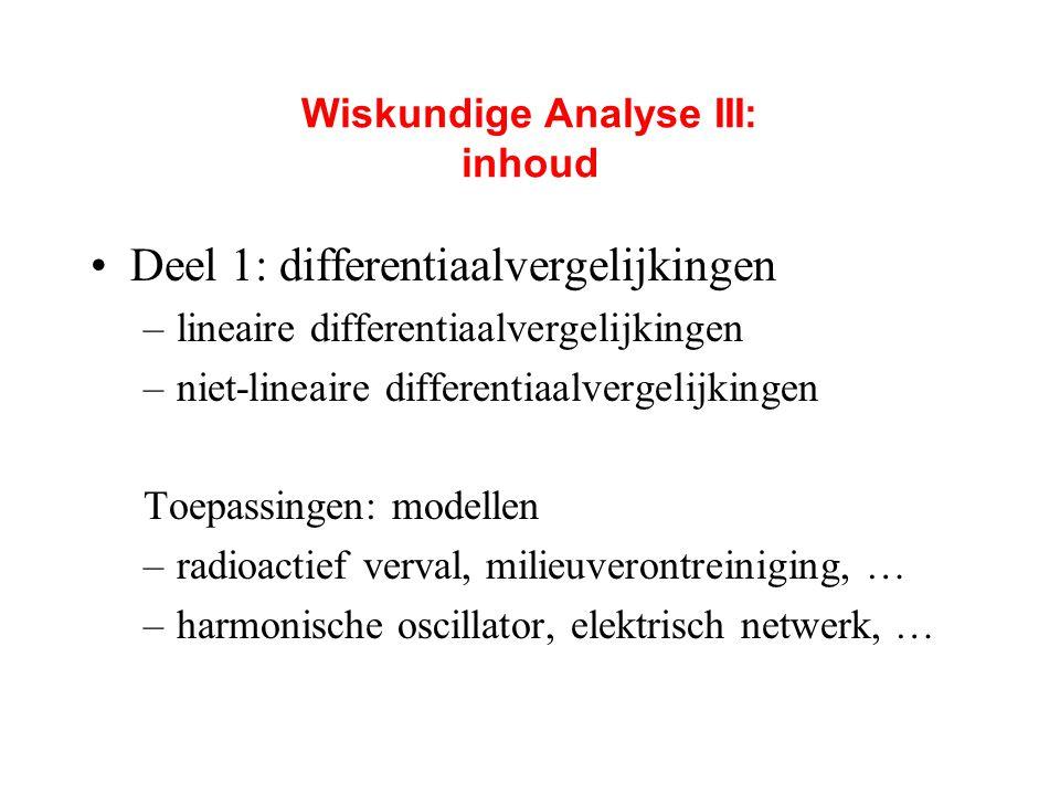 Wiskundige Analyse III: inhoud