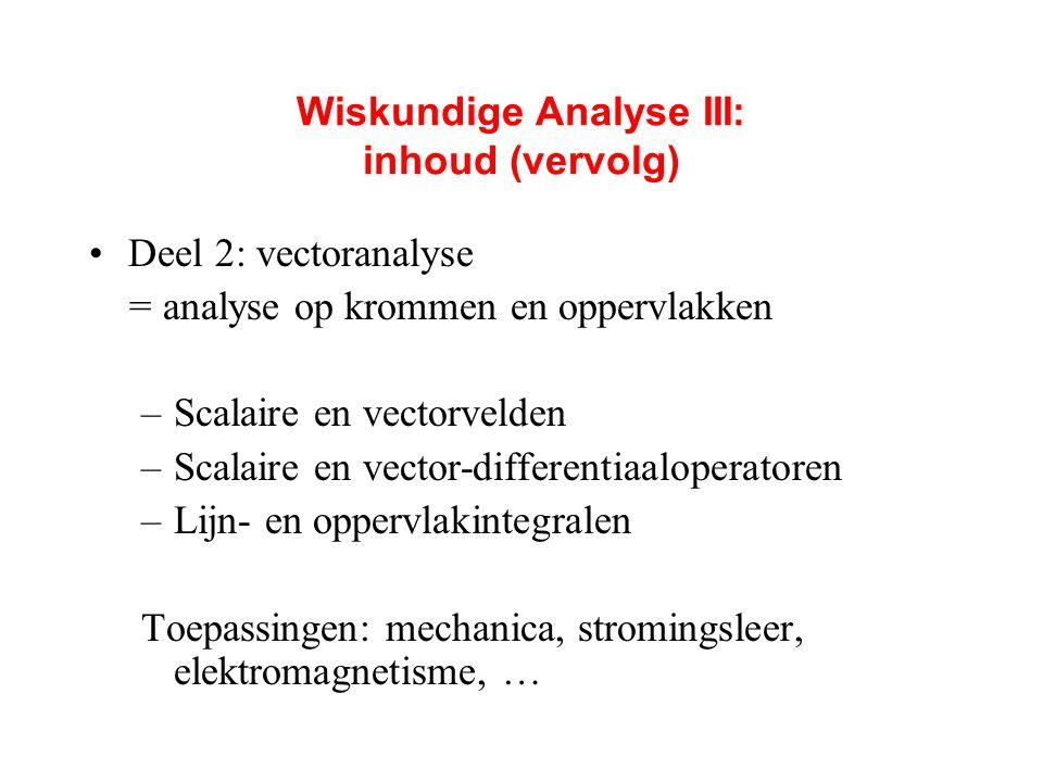 Wiskundige Analyse III: inhoud (vervolg)