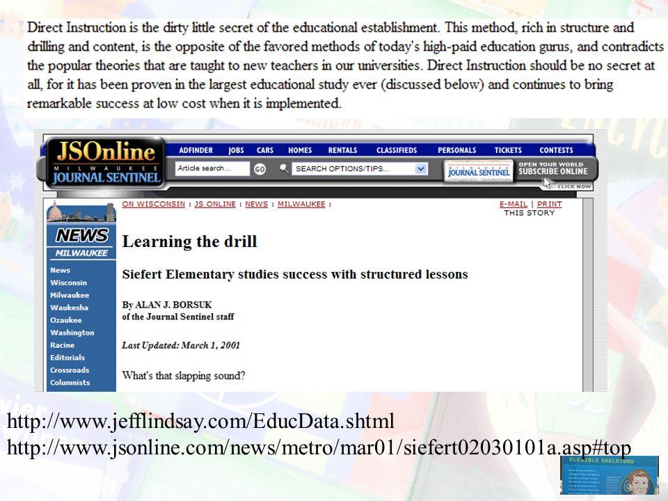 http://www.jefflindsay.com/EducData.shtml http://www.jsonline.com/news/metro/mar01/siefert02030101a.asp#top.