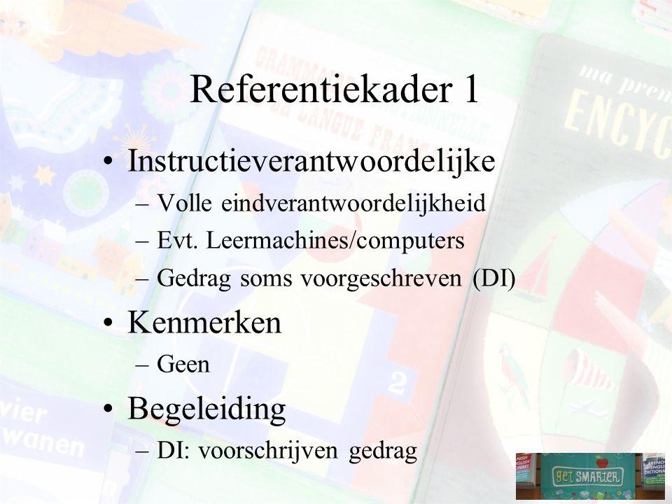Referentiekader 1 Instructieverantwoordelijke Kenmerken Begeleiding