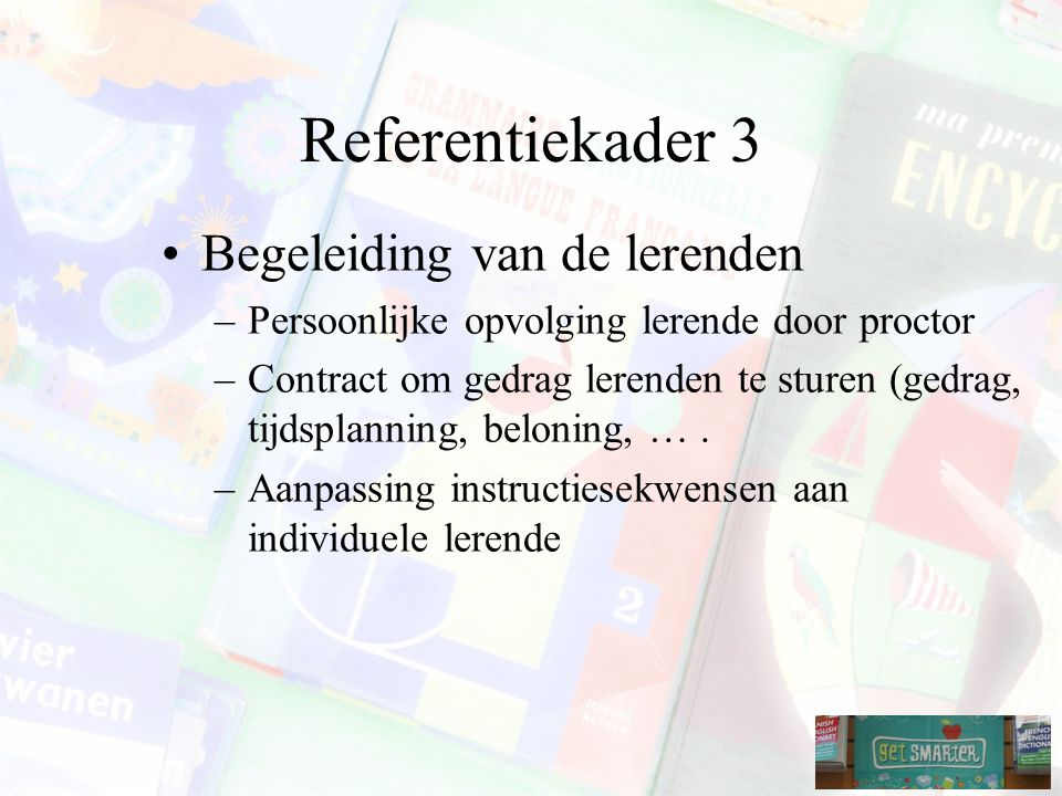 Referentiekader 3 Begeleiding van de lerenden