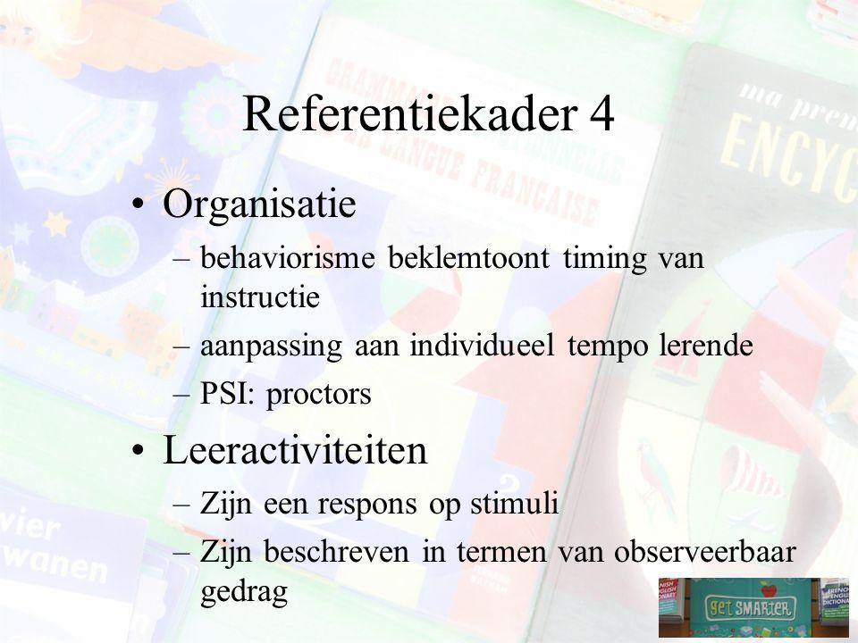 Referentiekader 4 Organisatie Leeractiviteiten