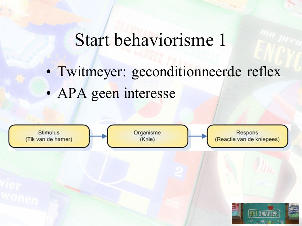 Start behaviorisme 1 Twitmeyer: geconditionneerde reflex
