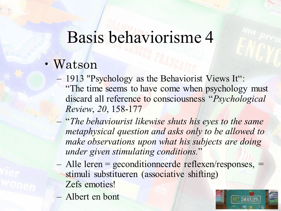 Basis behaviorisme 4 Watson
