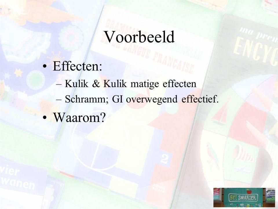 Voorbeeld Effecten: Waarom Kulik & Kulik matige effecten