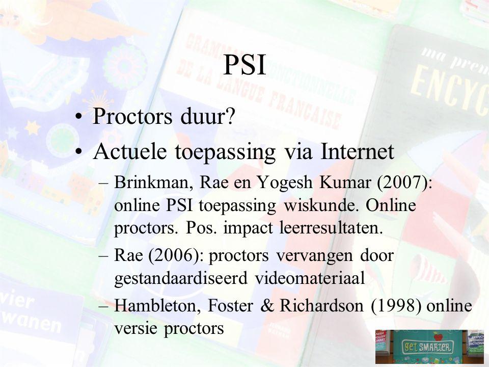 PSI Proctors duur Actuele toepassing via Internet
