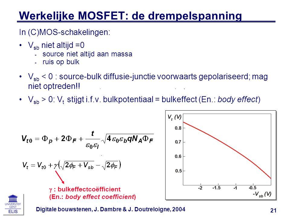 Werkelijke MOSFET: de drempelspanning