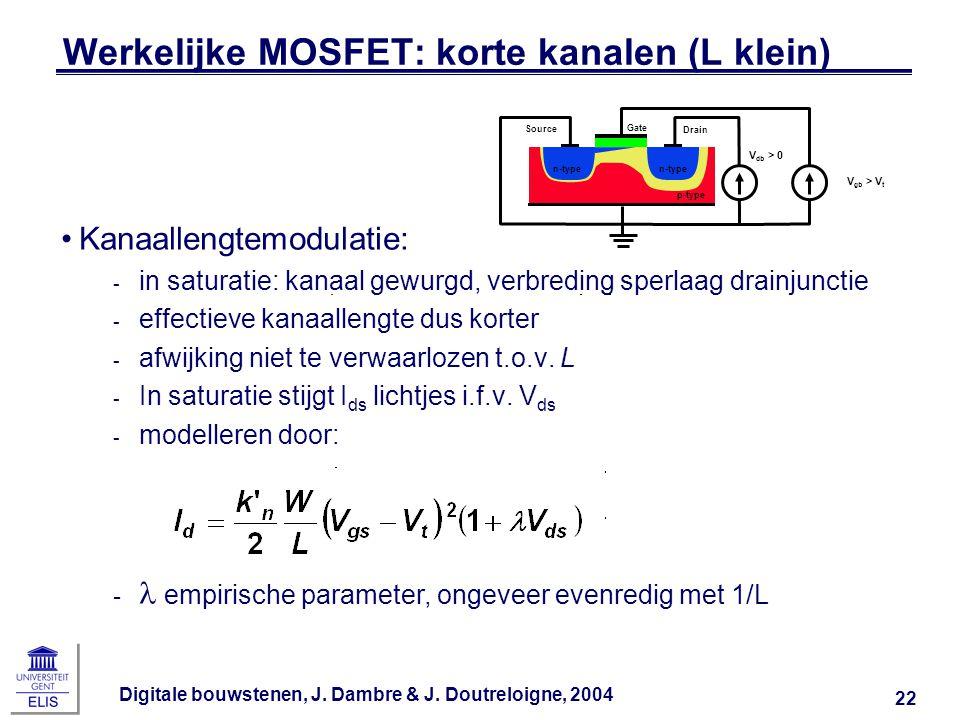 Werkelijke MOSFET: korte kanalen (L klein)