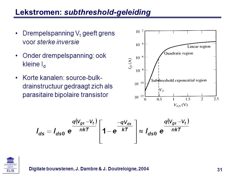 Lekstromen: subthreshold-geleiding