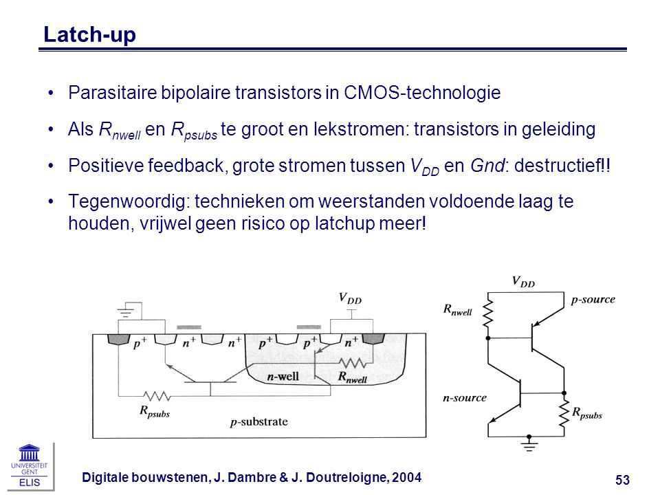 Latch-up Parasitaire bipolaire transistors in CMOS-technologie