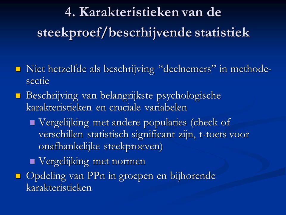 4. Karakteristieken van de steekproef/bescrhijvende statistiek
