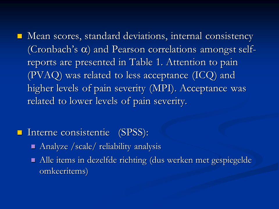 Interne consistentie (SPSS):