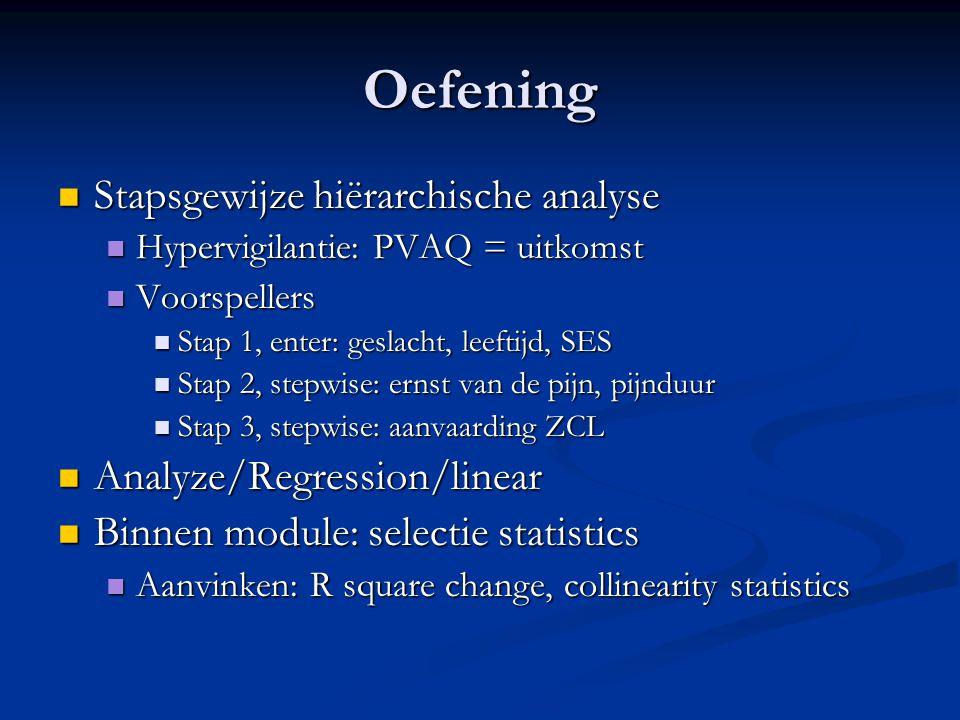 Oefening Stapsgewijze hiërarchische analyse Analyze/Regression/linear