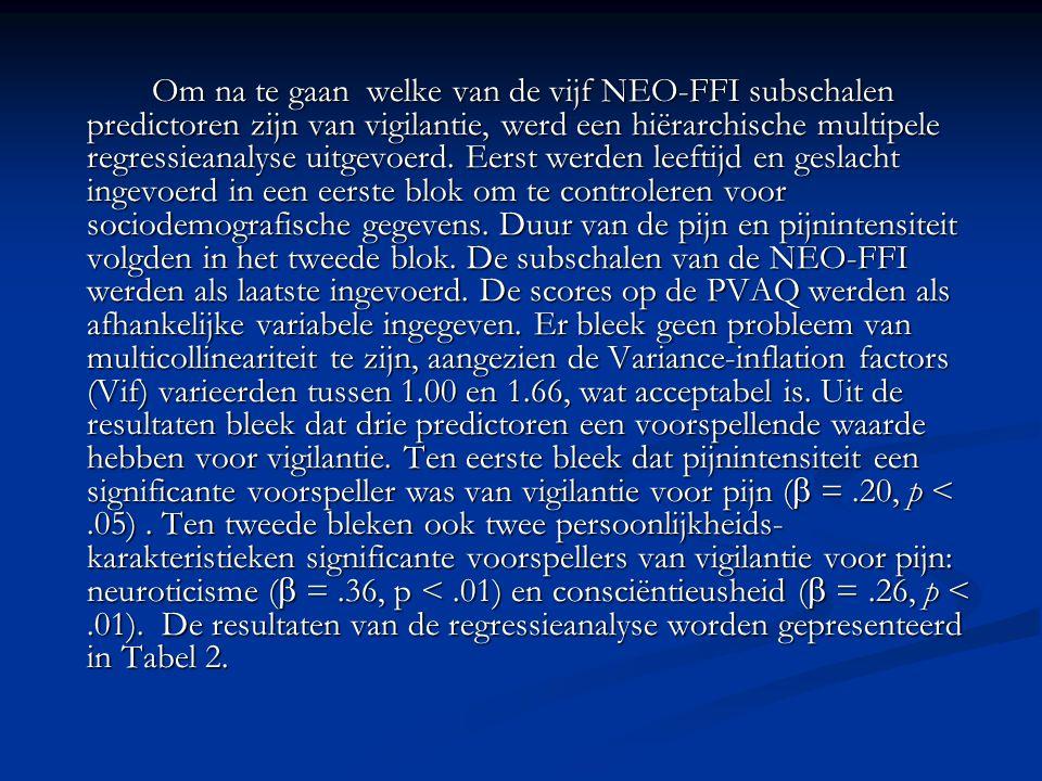 Om na te gaan welke van de vijf NEO-FFI subschalen predictoren zijn van vigilantie, werd een hiërarchische multipele regressieanalyse uitgevoerd.