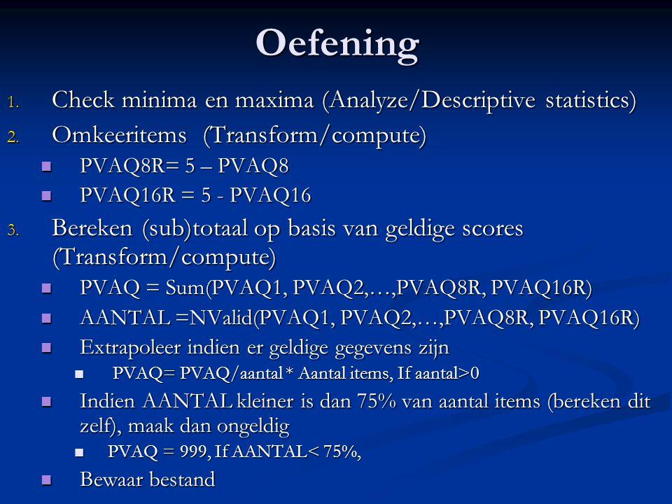 Oefening Check minima en maxima (Analyze/Descriptive statistics)