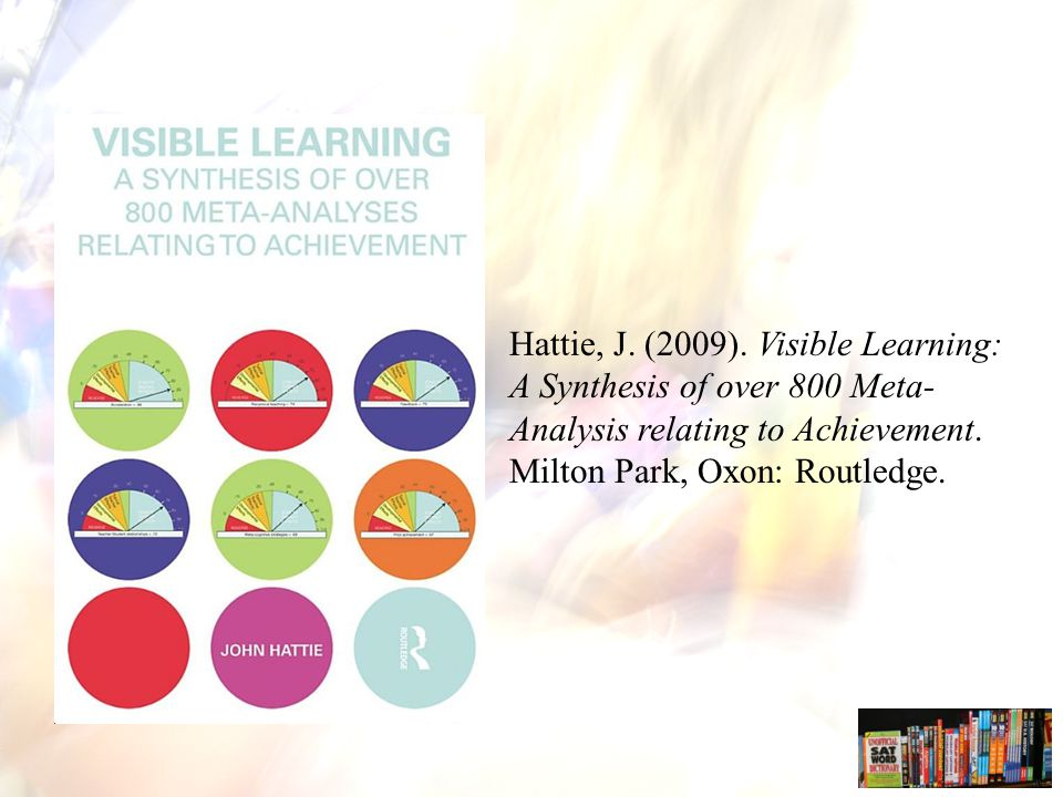 Hattie, J. (2009). Visible Learning: A Synthesis of over 800 Meta-Analysis relating to Achievement.