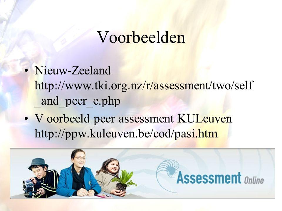 Voorbeelden Nieuw-Zeeland http://www.tki.org.nz/r/assessment/two/self_and_peer_e.php.