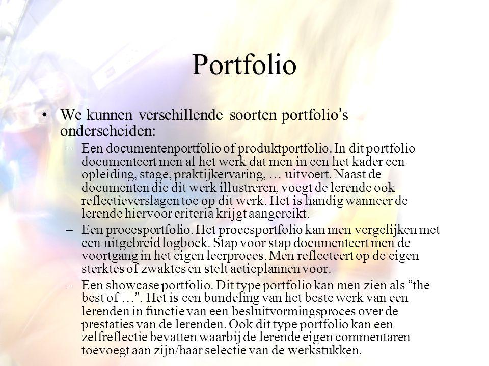 Portfolio We kunnen verschillende soorten portfolio's onderscheiden: